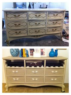 Yard sale dresser before and after. Painted with chalk paint and added slats to transform into bedroom media center. Furniture Update, My Furniture, Furniture Projects, Media Cabinets, Media Center, Yard Sale, Home Decor Inspiration, Chalk Paint, Dresser