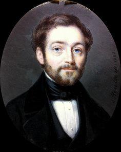 Edmé Rousseau - Miniature portrait dun jeune homme