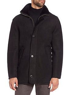 Saks Fifth Avenue Collection Shearling-Lined Leather Jacket - Black -