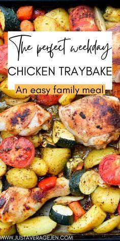 Easy Slimming World chicken tray bake recipe Slimming World Chicken Dishes, Slimming World Recipes, Chicken Tray Bake Recipes, Easy Family Meals, Family Recipes, Main Meals, Tray Bakes, Healthy Cooking, Food Print