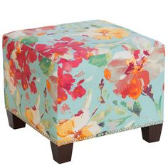 Versatility is what makes the Skyline Furniture Medford Square Nail Button Ottoman a welcome addition to any room in your home. Perfect for use as additional seating or even as a small side table, it offers both function and fashion. Ottoman Decor, Upholstered Ottoman, Country Furniture, Living Room Furniture, Studio Furniture, Turquoise Accent Chair, Floral Furniture, Rattan Armchair, Leather Reclining Sofa