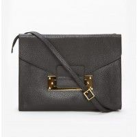 Sophie Hulme Soft Envelope Clutch in Staped Black features a pebble black leather clutch with one front pocket and one zipper closure pocket; Find more Sophie Hulme at TheDreslyn.com