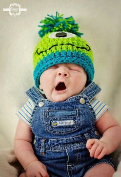 Crochet Baby Monster Hat. Baby not too bothered by scary monster...:)