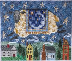 It's not your Grandmother's Needlepoint, sheep at night