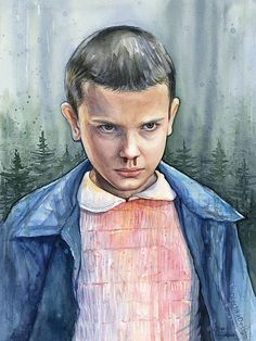 Eleven from Stranger Things Portrait Watercolor by OlechkaDesign