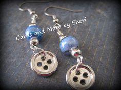 Bead and Button Earrings  Blue Swirl by CardsAndMoreBySheri, $10.00