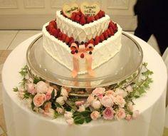 ウエディング アイテム 写真 ウエディングケーキ,生ケーキ,ハート型,リボン,イチゴ,ベリー,2段