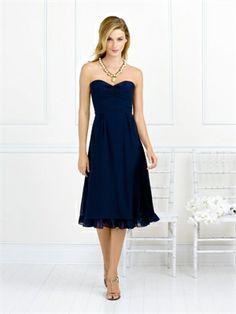 A-line Strapless Sweetheart Neckline Tea Length Chiffon Bridesmaid Dress BD10150 www.dresseshouse.co.uk £79.0000