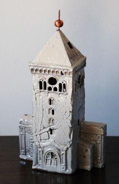 Holy Trinity Church Tower. handwork of ceramists of Jelgava region.