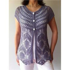 Ravelry: Jamie - short sleeve crochet vest pattern by Vicky Chan (Pattern for…This feminine seamless vest is worked from the neck down in one piece starting with the yoke. Two beautiful stitch patterns are used – one for the yoke, and one for the T-shirt Au Crochet, Pull Crochet, Crochet Jacket, Crochet Cardigan, Crochet Vests, Ravelry Crochet, Crochet Fabric, Filet Crochet, Crochet Vest Pattern