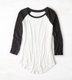 Natural White AEO Soft & Sexy Colorblocked Baseball T-Shirt