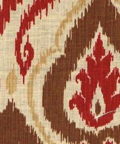 Raja-Spice-Ethnic-Ikat-Damask-Linen-Rust-Red-Brown-Fabric