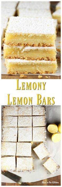 Recipe for Lemony Lemon Bars from The Easy Homemade Cookie Cookbook ~ MissintheKitchen.com