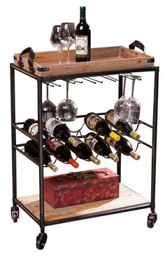 SO PERFECT!! Metal wine cart with a wood serving tray and lower shelf with bottles and stemware holders.