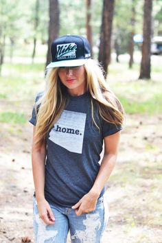 Here's Ashley wearing her Arizona Home T on a recent camping trip. Portion of profit donated to MS research. Get yours here, http://www.thehomet.com/arizona-home-t-shirt.