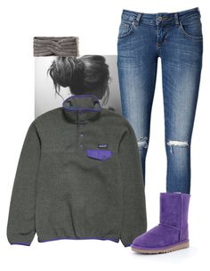 """""""Going to bed. Have to get up early for track on my day off"""" by sydneymellark ❤ liked on Polyvore featuring Anine Bing, Patagonia, Hollister Co., UGG Australia, women's clothing, women's fashion, women, female, woman and misses"""