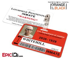 Orange is the New Black Inspired Litchfield Penitentiary Inmate Wearable ID Badge - Whitehill, Lolly