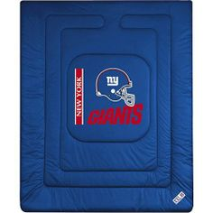 NFL New York Giants Locker Room Bed Comforter by Sports Coverage. $55.77. This Special Order Can Not Be Cancelled Once Placed. 01JRCOM1GIATWIN Size: Twin Comforter Only Features: -New York Giants theme.-Screen-printed team graphic.-100pct polyester jersey mesh.-100pct polyester fill.-5.5 oz. bonded polyester batts.-Machine washable.-Made in USA. Dimensions: -Twin size: 86'' H x 68'' W.-Full/Queen size: 86'' H x 86'' W.