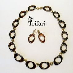 TRIFARI with crown necklace and ear-clips, forties