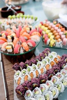 Sushi - fantastic wedding food station idea / http://www.deerpearlflowers.com/wedding-food-bar-ideas/2/