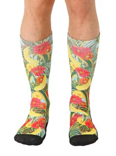 Mens Athletic Cushion Crew Sock tropical floral butterflies Long Sock Outdoor