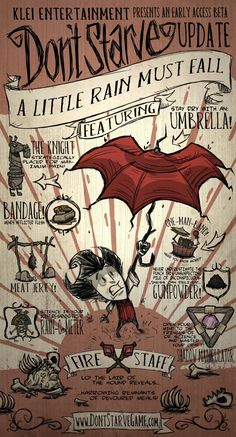Wilson holding an Umbrella to hold off the rain in the poster for the A Little Rain Must Fall update.