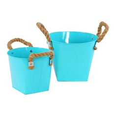 Urban Trends Collection Light 2-piece Zinc Bucket with Rope Handles