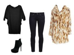 6 Cute Date Outfit Ideas For When It's Freezing Cold Outside: Black Jeans and Faux Fur
