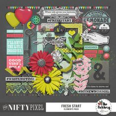 FRESH START | Elements Pack This is a fun elements pack filled to the brim with everything you could possibly need to create a page dedicated to spring and new beginnings.  DOWNLOAD INCLUDES:  55+ Elements Including: Foliage, flowers, butterflies, buttons, brads and frames. Charms, scatters, washi tape,  ballons, rub-ons, stamps, scatters and numerous wordart. All products are saved at 300ppi for optimum printing quality.