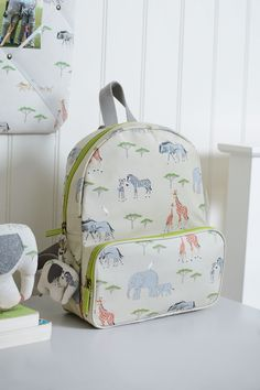 This quality children's backpack is a practical accessory for children who have just started nursery and will need a bag for their sports kit, day trips, play dates with their friends or sleep overs with Granny! Covered in lots of African animals - elephants, giraffes, wildebeest, warthogs, zebras and rhinos all feature.
