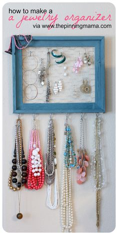 For the longest time I've been wanting to organize my jewelry. I have all of my nice stuff tucked away in little boxes, but my costume jewelry is all over my bathroom - in my linen closet, in my cl...