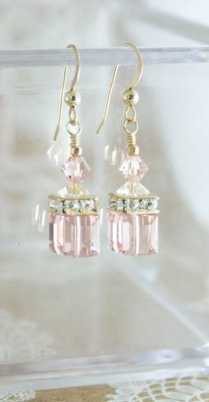 Blush earrings | cube earrings | blush bridesmaid earrings | blush and gold wedding | 14K yellow goldfilled \ Other colours available. www.endorajewellery.etsy.com