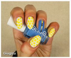 #DIY Yellow, white and blue dotted #nailart watch the video #tutorial on my blog here: http://giugizu.blogspot.it/2015/04/diy-white-yellow-and-blue-dotted.html