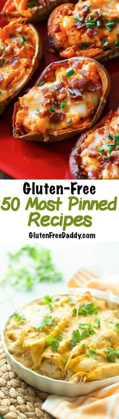 The 50 Most Pinned Gluten Free Recipes - I can't believe these are all gluten free! There are so many good options on this page - and you know if they have been pinned at least times then they (Gluten Free Pasta Recipes) Gf Recipes, Dairy Free Recipes, Easy Recipes, Gluten Free Pasta Recipe, Health Food Recipes, Gluten Free Casserole, Celiac Recipes, Dinner Recipes, Nutritional Recipes