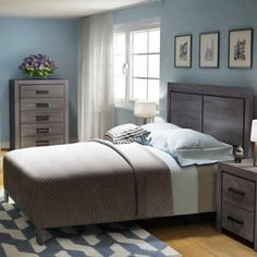 Seabrook King 4 Piece Bedroom Set Laundry Appliances, Bedroom Sets, Furniture Making, Home Furnishings, Mattress, Bookcase, Rest, Living Room, House