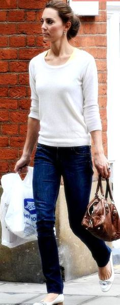 Even when she's dressed casually she looks so classy...love her style! ...Kate Middleton