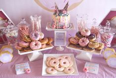 Donut party table from a Pastel Pink & Blue Donut Birthday Party on Kara's Party Ideas | KarasPartyIdeas.com (13)