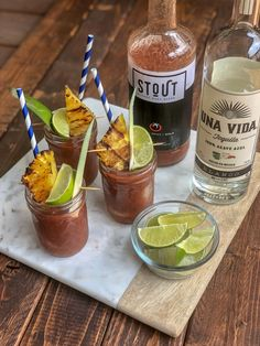 Like Bloody Mary's? Like tequila? Check out this delicious twist to the Bloody Maria! Brunch Punch, Brunch Drinks, Cocktails, Pineapple Margarita, Pineapple Slices, Tequila, Hard Lemonade, Grapefruit Soda, Bloody Mary Recipes