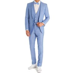 http://chicerman.com - Sky blue summer linen three-piece suit