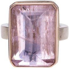 Jamie Joseph Inverted Kunzite Ring ($250) ❤ liked on Polyvore featuring jewelry, rings, jamie joseph, jamie joseph jewelry, gold and silver rings, gold and silver jewelry and jamie joseph rings