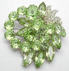 Eisenberg Green Rhinestone Brooch - Garden Party Collection Vintage Jewelry