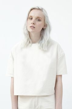 Cropped Ecru Denim T-shirt