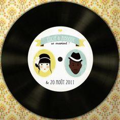 9 idées de décoration mariage avec le disque vinyle « Martine Se Marie