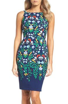 Adrianna Papell Print Sheath Dress
