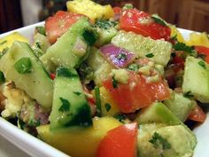 Mango Avocado Salsa:   Ingredients  1 large mango, peeled and diced  2 large plum tomatoes, diced  1 cucumber, seeded and diced  ¼ large red onion, minced  1 Tbs. fresh jalapeno, seeded and minced  ¼ tsp. Kosher salt  ¼ tsp. ground cumin  ¼ tsp. black pepper  Zest and juice of 1 lime  1 avocado  2 Tbs. fresh cilantro, chopped