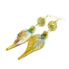 Leaf Earrings, Iridescent Earrings, Lampwork Earrings, Glass Earrings, Leaf Jewelry, Long Drop Earrings, Unique Earrings, Glass Bead Earring