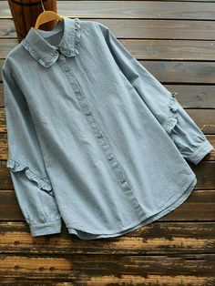 Casual Ruffled Lapel Button Long Sleeve Shirt for Women- Casual Ruffled Lapel Bu. Casual Ruffled Lapel Button Long Sleeve Shirt for Women- Casual Ruffled Lapel Button Long Sleeve Sh Diy Camisa, Hijab Stile, Bluse Outfit, Hijab Fashion, Fashion Outfits, Blouse And Skirt, Girls Fashion Clothes, Blouse Designs, Shirt Blouses
