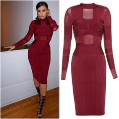 """Who says a high neckline can't be sexy ?  The """"Shannon Mesh Stripes Bandage Dress"""" has just the right amount of peek."""