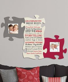 This 'Grandparents' Puzzle Photo Frame & Wall Art Set by P. Graham Dunn is perfect! #zulilyfinds