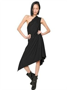 RICK OWENS ONE SHOULDER COTTON JERSEY DRESS